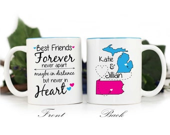 Best Friends Distance Mug,Gift for Friend,Long distance friend,coffee mug,gift for friend,BFF mug,Friends forever,Personalized gift, MUG-360
