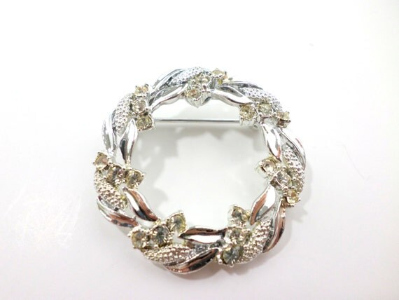 silver circle brooch gerry s jewelry rhinestone by