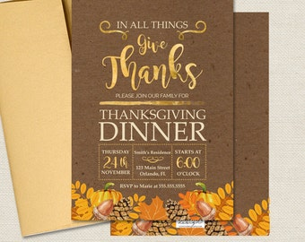 Thanksgiving Dinner Invites - Fall Party Invitations - Any Info - Printed or Printable File Free Shipping