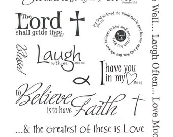 Inspirational Faith Religious Bible Verses Stickers - Planner - Invites - Envelope Seals - Scrapbooking - Faith Planner  Stickers
