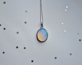 Opalite moonstone necklace opal stone small oval milky stone (only this one available