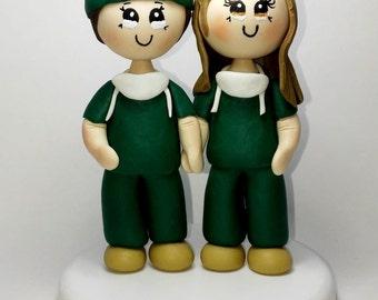 Custom wedding cake topper, physician wedding cake topper