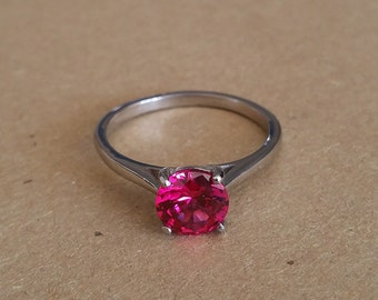 Genuine 1.5ct Pink Sapphire solitaire ring in Titanium or White Gold - engagement ring - wedding ring - handmade ring