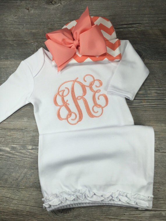 Baby Girl Coming Home Outfit Monogram Gown Chevron Hat