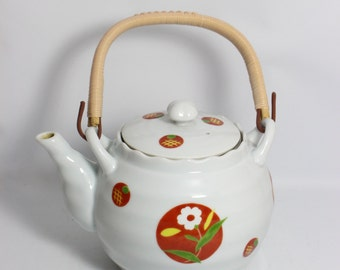 Chinese Ceramic Screen Teapot With Rattan Handle