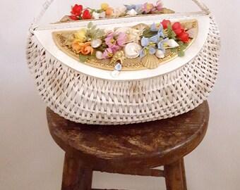 Marche aux fleurs bag | large 1960s white wicker market bag | 60s specialty handbag with flowers | vintage wicker