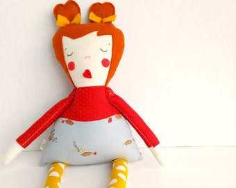 Red hair rag doll, Cloth heirloom doll, Fabric girl doll, Stuffed doll, Plush softie toy, Red gray gold, Doll decoration, Jointed art doll