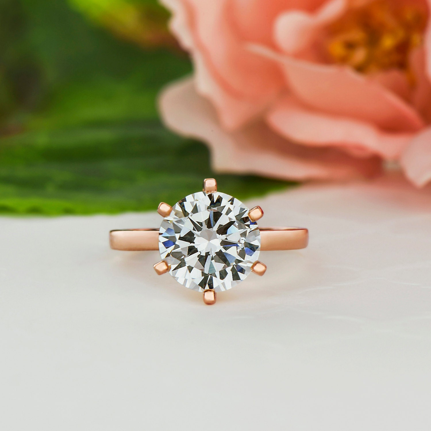 3 ct 6 Prong Engagement Ring Solitaire Ring Man Made Diamond
