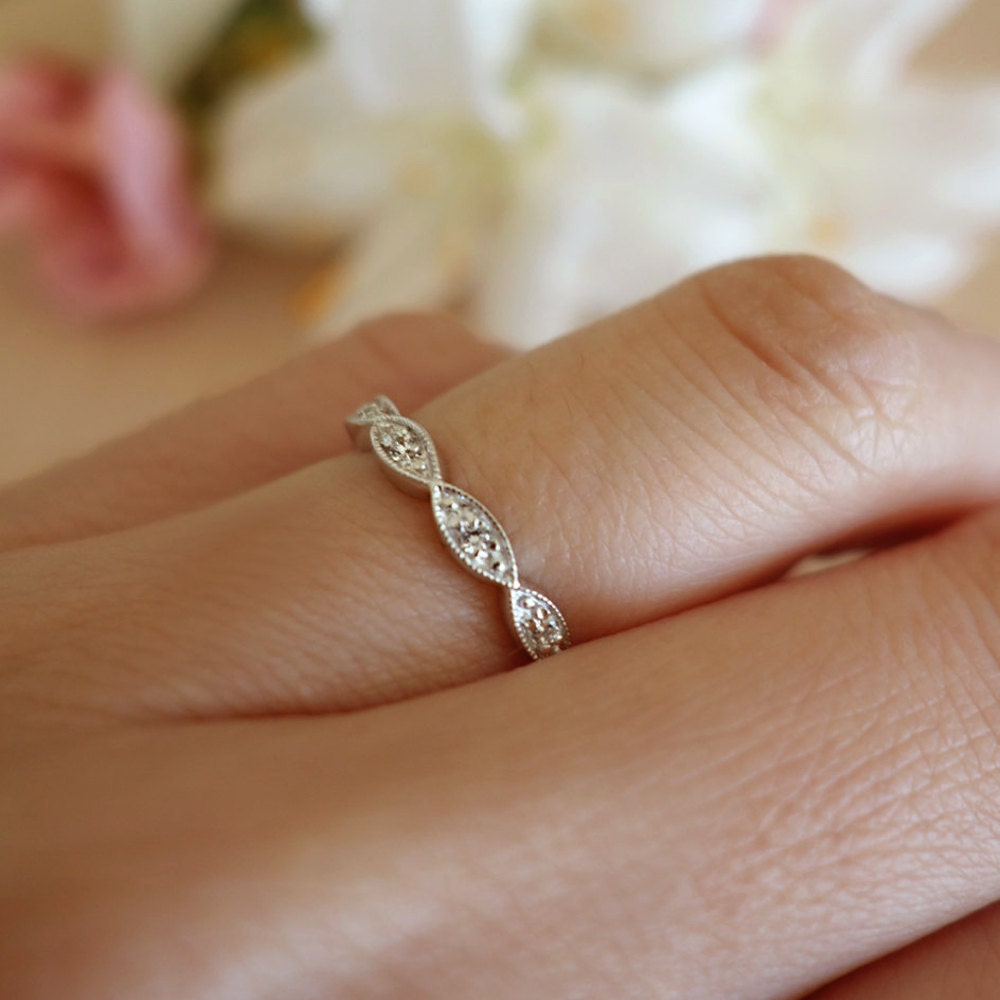 Sale 5 Stone Scalloped Wedding Band Stacking Layering Ring
