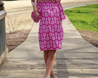 Women's Dress the Derby dress in Raspberry Pineapple off the shoulder dress custom made by Collyn Raye