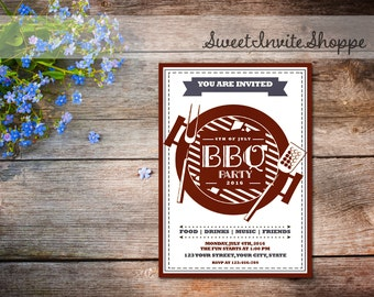 4th Of July BBQ Party Invitation, Independence Day Celebration Invitation, Barbecue Invitation, Fourth Of July Invitation, BBQ Invitation