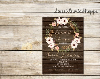 Boho Floral Bridal Shower Invitation, Watercolor Floral Wreath Bridal Invitation, Bohemian Shower Invitation, Watercolor Flowers Invitation