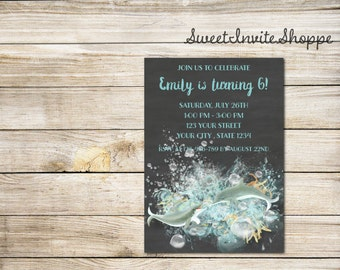 Dolphins Birthday Invitation, Chalkboard Dolphin Tale Birthday Party Invitation, Beach Invitation, Pool Party Invitation, Sea Invitation