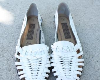 White Huarache Sandals / Size 9