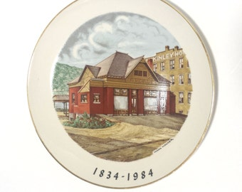 East Liverpool Ohio Sesquicentennial Plate by Hans Hacker of Pennsylvania Railroad Station Limited Edition Plate number 110