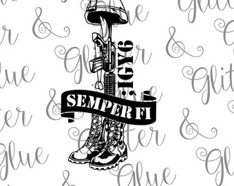 Battlefield Cross with Semper Fi for USMC Veteran ;IGY6 SVG File