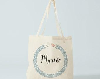 Tote bag, cabas coton, Mariée, EVJF, cadeau mariée, cadeau fiancée, enterrement de vie de jeune fille, sac en toile.