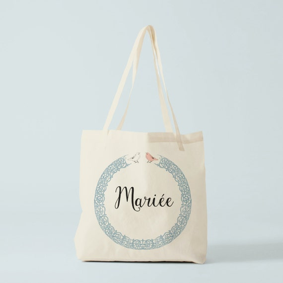 Tote Bag Mariée, gift for bride, Bachelorette party, bachelorette gift, canvas bag.