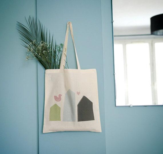 Tote bag Scandinavian Houses, groceries bag, laptop bag, student bag, school bag, novelty gift, gift for coworker or friend.