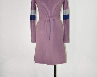 70s sweater dress / vintage mauve dress / ribbed knit dress