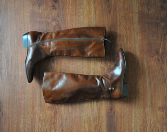 knee high leather boots / tall brown leather boots / Ferragamo riding boots 7