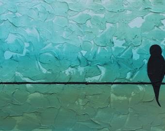 Giclee PRINT 5x10 Original Acrylic Modern Birds on a Wire, Abstract Art, Painting, Blue Painting, Minimalist, Nature Motherhood Nursery Baby