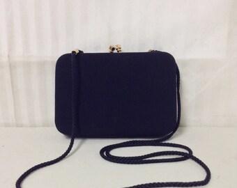 Box purse,bag,Black,Vintage Purse, Kiss Lock ,Shoulder Bag,structured