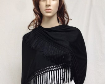 Free Ship Black Fringed Shawl Wrap
