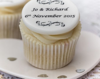 Wedding Cupcake Toppers - personalised edible sugar cupcake decorations (pack of 12)
