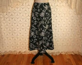 Black Linen Skirt Floral Print Flared Skirt Casual Skirt Medium Women Skirts Black Floral Skirt Black Skirt Size 8 Skirt Womens Clothing