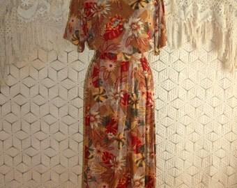 Vintage Hawaiian Skirt Set 2 Piece Dress Rayon Tropical Brown Rust Short Sleeve Boxy Top Shirt Dress Medium Womens Clothing Vintage Clothing