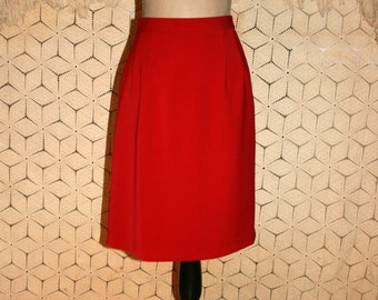 90s Red Skirt for Women Medium Midi Skirt Christmas Valentines Day Cherry Red A Line Skirt Size 10 Skirt Vintage Clothing Womens Clothing
