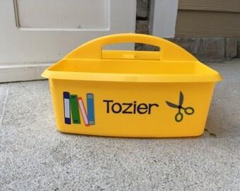 Personalized Homework Caddy; School Supplies Caddy; Desk Organizer