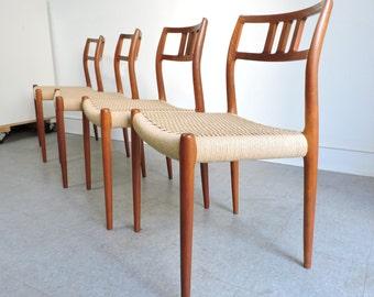 Niels Moller 4 Mid Century Danish modern teak dining chairs, #79