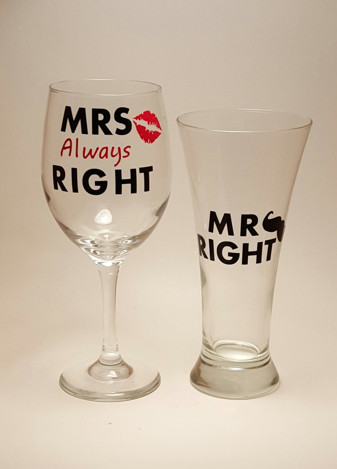 Mrs Always Right Collection Review: Mr Right Mrs Always Right Wine Glass Set Funny Wedding