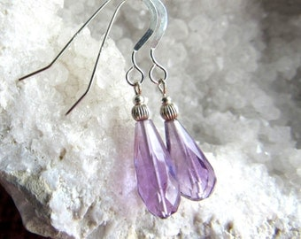 Earrings lavender gemstone  amethyst faceted teardrop, sterling silver  accent bead and handmade french earwires, length 1 1/4 inches.
