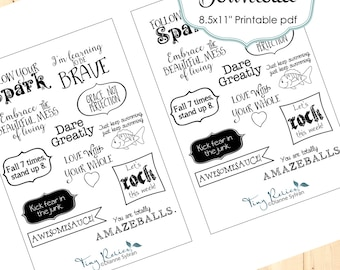 Black and White Encouraging Word Stickers for Planners/Calendars - Printable