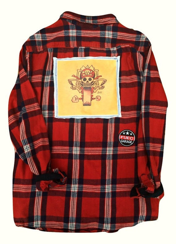 Vintage Biker Flannel With Patch Red White Blue Flannel