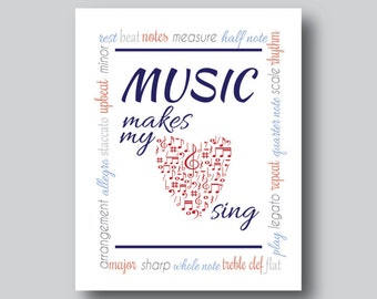Gift for Music Lover, Music Note, Music Teacher Gift, Musical Instrument, Music Artwork, Music Wall Decor, Music Wall Art, Music Sign,Poster