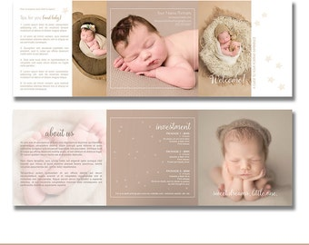 INSTANT DOWNLOAD, Photography Marketing Template, Trifold Design, Soft Beige, Layered Photoshop Template, Photography, Postcard, Newborn