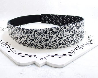 Black White Headband, Black Headband, White Headband, Teen Adult Fabric Headband, Flower Headband, Reversible Headband, Gift Under 10