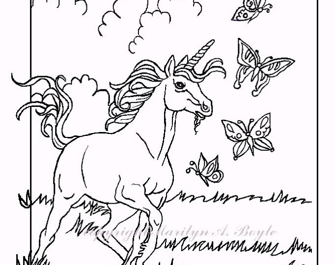 COLORING BOOK of Five PAGES; digital download, adult, children's coloring pages, young unicorns and fairy horse, one christmas one.