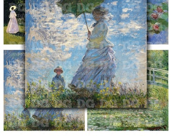 Claude Monet 4x4 inch tiles Digital Collage Sheet for Coasters, Magnets, Greeting Cards, Scrapbooking, Stickers, Instant Download Sheet 254