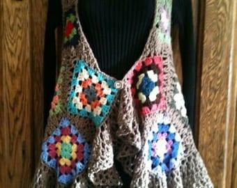 Original designed hi-low Crocheted Vest