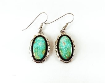 Vintage Native American Green Blue Turquoise Sterling Silver Silver
