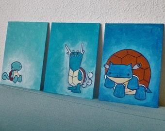 Squirtle, wartortle, blastoise evolution A5 triptych. Hand painted canvas board.