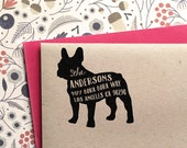 Custom Address Stamp - French Bulldog (Frenchie) Return Address Stamp, customized gift for holidays, housewarming and weddings, school