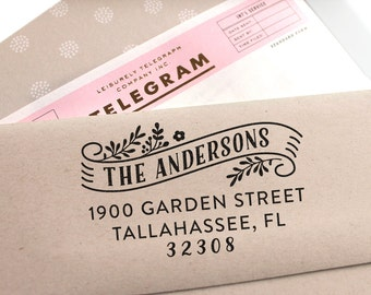 Custom address stamp with banner, rubber stamp, return address stamp, personal stamp, wedding stamp, christmas or housewarming gift