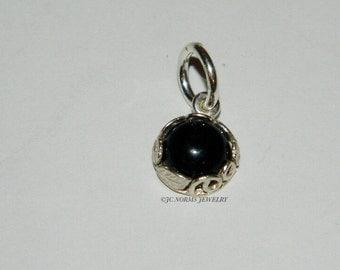 Sterling Silver Charm Pendant Genuine Black Onyx Dangle 925