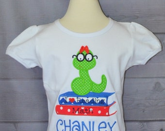Personalized Book Worm Applique Shirt or Onesie Girl
